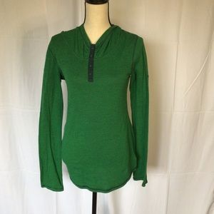 Blue and green hooded long sleeve